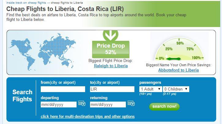 Priceline cheap flights to Liberia